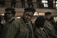"""This image released by Warner Bros. Pictures shows Daniel Kaluuya in a scene from """"Judas and the Black Messiah."""". (Warner Bros. Pictures via AP)"""