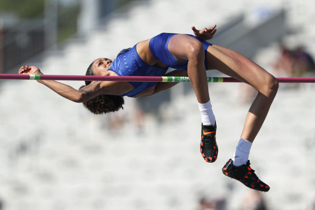 Vashti Cunningham clears the bar during the women's high jump at the U.S. Championships athletics meet, Saturday, July 27, 2019, in Des Moines, Iowa. (AP Photo/Charlie Neibergall)