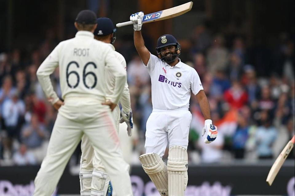 Rohit Sharma celebrates his first overseas century for India at the Oval  (Getty Images)
