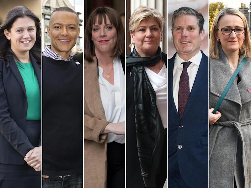 From left, Lisa Nandy, Clive Lewis, Jess Phillips, Emily Thornberry, Keir Starmer, Rebecca Long Bailey: PA/Reuters