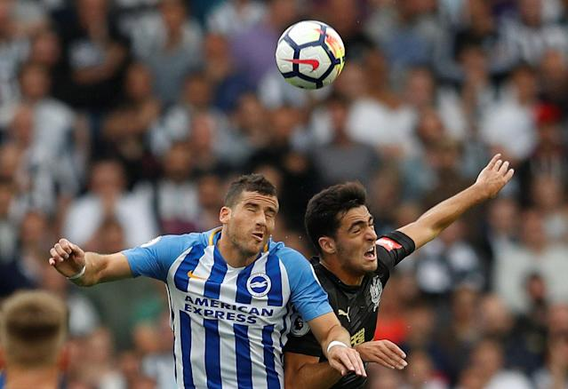 "<p>Soccer Football – Premier League – Brighton & Hove Albion vs Newcastle United – Amex Stadium, Brighton, Britain – September 24, 2017 Brighton's Tomer Hemed in action with Newcastle United's Mikel Merino REUTERS/Peter Nicholls EDITORIAL USE ONLY. No use with unauthorized audio, video, data, fixture lists, club/league logos or ""live"" services. Online in-match use limited to 75 images, no video emulation. No use in betting, games or single club/league/player publications. Please contact your account representative for further details. </p>"