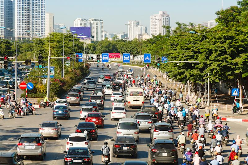 Aerial view of Hanoi cityscape, many traffic in rush hours.