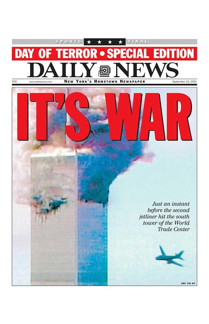 The New York Daily News' front page on 12 September, 2001 (The New York Daily News)