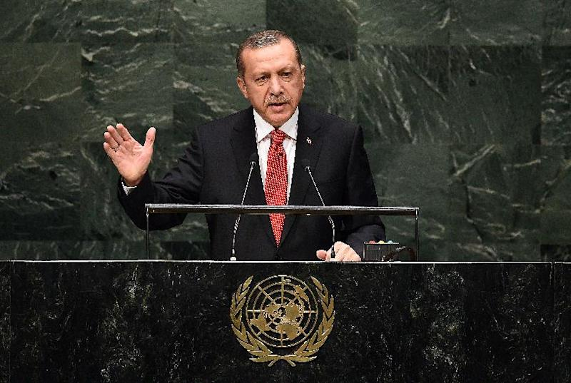 Turkey's President Recep Tayyip Erdogan speaks during the 69th Session of the UN General Assembly at the United Nations on September 24, 2014 (AFP Photo/Jewel Samad)