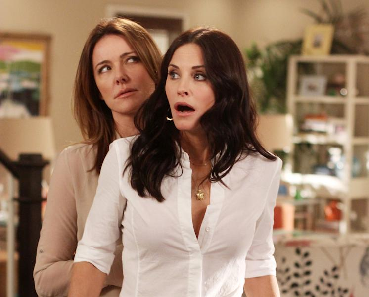 "In this publicity image released by ABC, Christa Miller, left and Courteney Cox are shown in a scene from the ABC comedy ""Cougar Town."" The ABC sitcom, a cult favorite but never a ratings blockbuster on broadcast television, will be moving to cable's TBS, the network said Thursday, May 10, 2012. TBS has ordered a fourth season of the sitcom, which was facing cancellation by ABC. New episodes are scheduled to begin airing early next year. (AP Photo/ABC, Michal Ansell)"