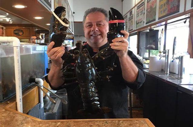 Pete's Clam Bar owner Butch Yamali says goodbye to lobster Louie ahead of his release back to the ocean. Pictures: Facebook/Pete's Clam Bar