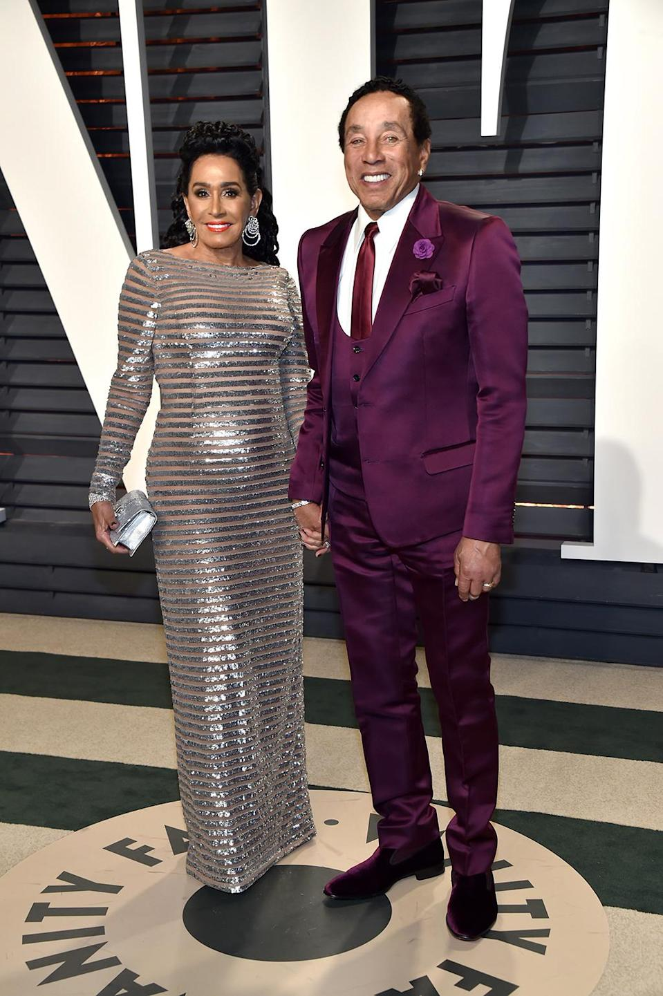 <p>Frances Glandney and Smokey Robinson attend the 2017 Vanity Fair Oscar Party hosted by Graydon Carter at Wallis Annenberg Center for the Performing Arts on February 26, 2017 in Beverly Hills, California. (Photo by Pascal Le Segretain/Getty Images) </p>