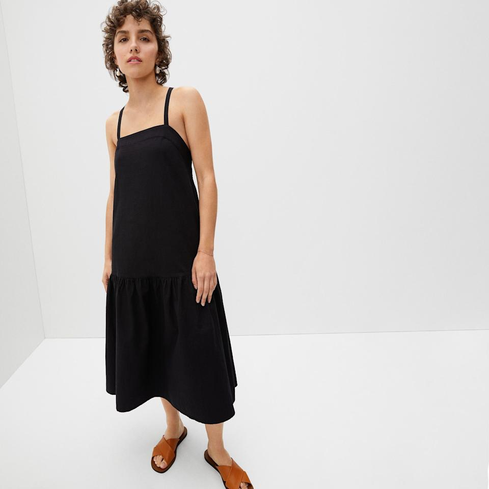 """<p><strong>Everlane</strong></p><p>everlane.com</p><p><a href=""""https://go.redirectingat.com?id=74968X1596630&url=https%3A%2F%2Fwww.everlane.com%2Fproducts%2Fwomens-pinafore-dress-black&sref=https%3A%2F%2Fwww.seventeen.com%2Ffashion%2Fg37090791%2Feverlane-summer-sale-best-items%2F"""" rel=""""nofollow noopener"""" target=""""_blank"""" data-ylk=""""slk:Shop Now"""" class=""""link rapid-noclick-resp"""">Shop Now</a></p><p><strong><del>$110</del> $88</strong></p><p>A classic black dress you'll wear for summers on end—or layer with a turtleneck for colder months.</p>"""