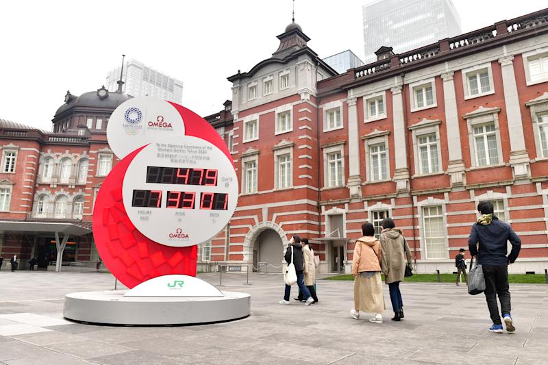 An Olympic countdown clock has been reset after the 2020 Games were rescheduled. (Photo by Atsushi Tomura/Getty Images)