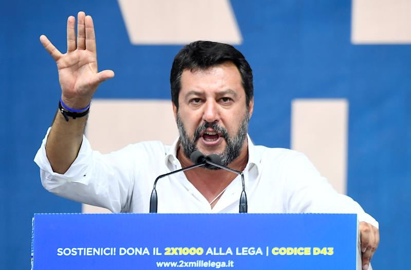 League party leader Matteo Salvini gestures as he gives a speech during a rally in Pontida, Italy, September 15, 2019. REUTERS/Flavio Lo Scalzo