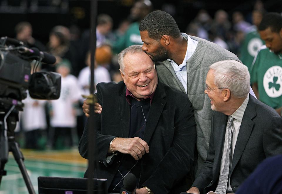 Tommy Heinsohn should join broadcast partner Mike Gorman as a Curt Gowdy Media Award recipient. (Jim Davis/The Boston Globe via Getty Images)