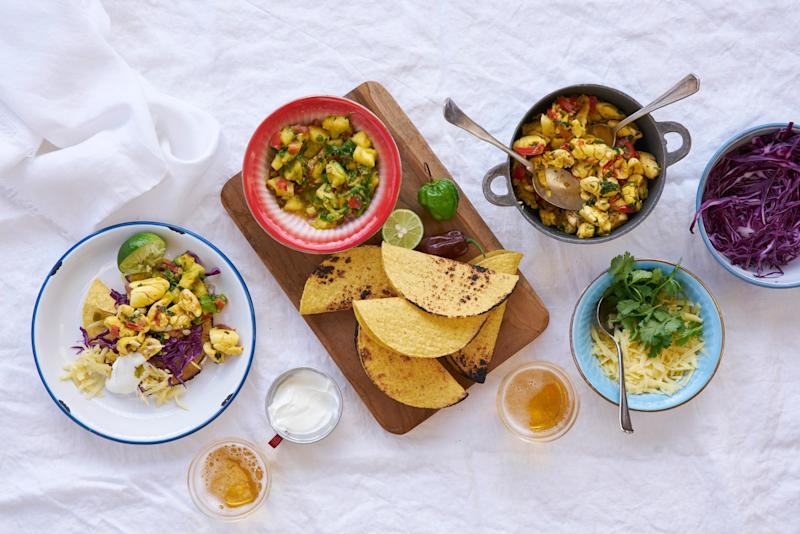Ackee is a rich and filling vegetarian addition to these tacos.
