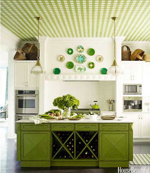 """<div class=""""caption-credit""""> Photo by: ERIC PIASECKI</div><div class=""""caption-title"""">A Bold Pattern</div><p>  To create a green gingham ceiling in a Purchase, New York, house, designer Gideon Mendelson first had the pattern painted on canvas by Silvère Boureaum. """"It gives a classic white kitchen personality, and it brings extremely high ceilings down to a more comfortable place,"""" Mendelson says. </p> <p>  <b>See more:</b> </p> <p>  <a rel=""""nofollow"""" href=""""http://www.housebeautiful.com/photos/global-interior-design?link=emb&dom=yah_life&src=syn&con=blog_housebeautiful&mag=hbu"""" target=""""""""><b>8 Spectacular Rooms from Around the World</b></a>  <br>  <a rel=""""nofollow"""" href=""""http://www.housebeautiful.com/photos/cool-floors?link=emb&dom=yah_life&src=syn&con=blog_housebeautiful&mag=hbu"""" target=""""""""><b>10 Bold Colored Floors That Wow</b></a> </p>"""