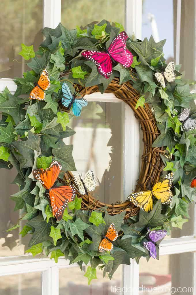 "<p>Made with not much more than grapevine wreath, ivy garland and faux butterflies, this wreath is as lovely as a sunny summer day.</p><p><strong>Get the tutorial at <a href=""https://www.triedandtrueblog.com/spring-butterfly-wreath-diy/"" rel=""nofollow noopener"" target=""_blank"" data-ylk=""slk:Tried and True Creative"" class=""link rapid-noclick-resp"">Tried and True Creative</a>.</strong></p><p><a class=""link rapid-noclick-resp"" href=""https://www.amazon.com/Chenkou-Craft-Butterfly-Ornament-Appliques/dp/B07L7BSPQB/ref=sr_1_2?tag=syn-yahoo-20&ascsubtag=%5Bartid%7C10050.g.4395%5Bsrc%7Cyahoo-us"" rel=""nofollow noopener"" target=""_blank"" data-ylk=""slk:SHOP CRAFT BUTTERFLIES"">SHOP CRAFT BUTTERFLIES</a><br></p>"