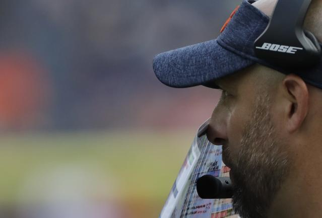 Chicago Bears head coach Matt Nagy calls a play during the second half of a preseason NFL football game against the Kansas City Chiefs Saturday, Aug. 25, 2018, in Chicago. (AP Photo/Nam Y. Huh)