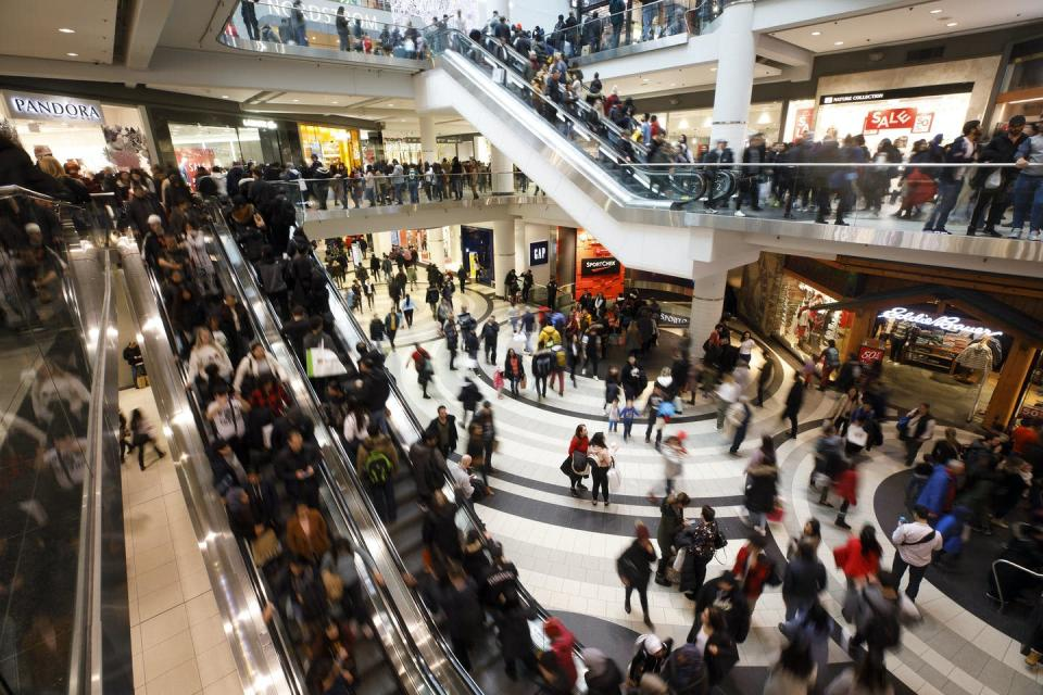 Shoppers at the Eaton Centre.