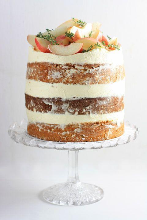 """<p>Infused with woodsy thyme, this cake is filled with thick layers of limoncello-infused mascarpone cream. </p><p><strong>Get the recipe at <a href=""""https://fromthelarder.co.uk/white-nectarine-thyme-limoncello-cake/"""" rel=""""nofollow noopener"""" target=""""_blank"""" data-ylk=""""slk:From The Larder"""" class=""""link rapid-noclick-resp"""">From The Larder</a>.</strong> </p>"""