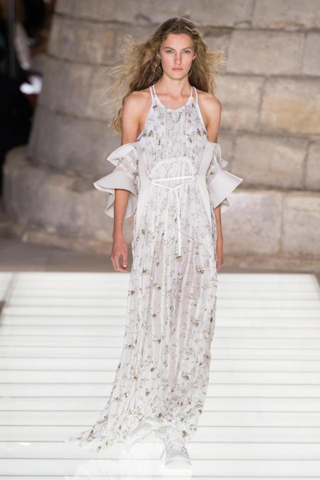 <p><i>Bell sleeve cold-shoulder dress from the SS18 Louis Vuitton collection. (Photo: ImaxTree) </i></p>