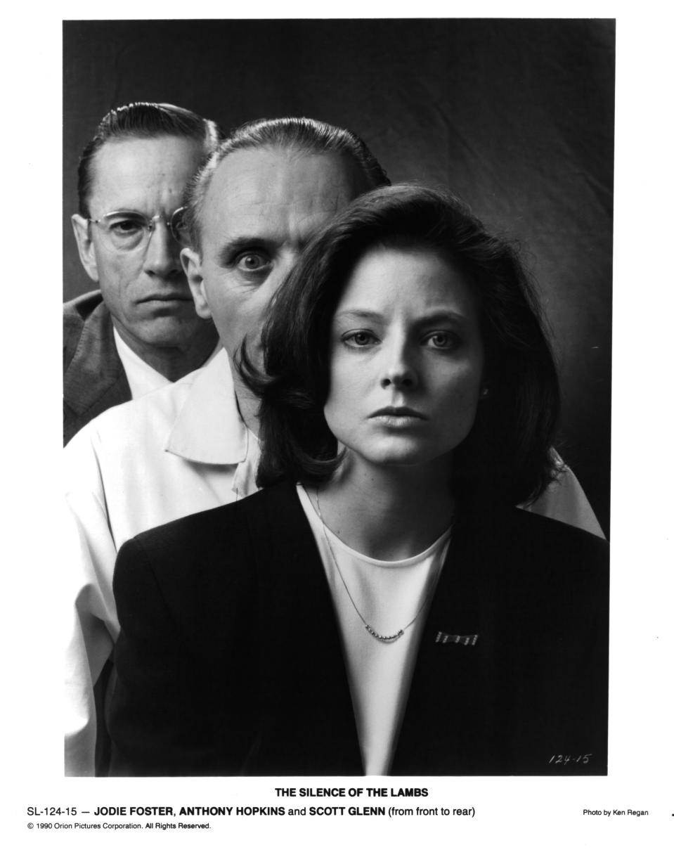 A poster for the film, with stars Scott Glenn, Anthony Hopkins and Jodie Foster. (Photo: Michael Ochs Archives/Getty Images)