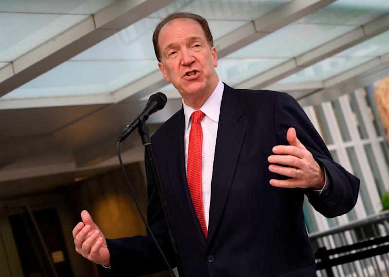 David Malpass on April 9. (Photo: Andrew Caballero-Reynolds/AFP/Getty Images)