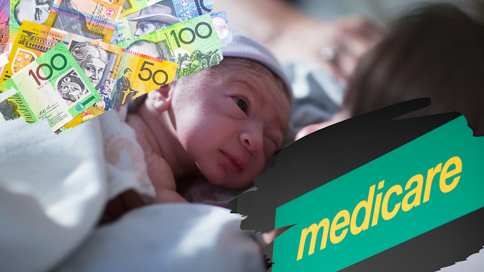 Pictured: Medicare logo, Australian cash and baby born with private health insurance. Images: Getty