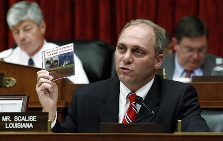 U.S. Representative Steve Scalise (R-LA) holds up a CD that he presented to BP CEO Tony Hayward during questioning at the House Energy and Commerce Committee on Capitol Hill