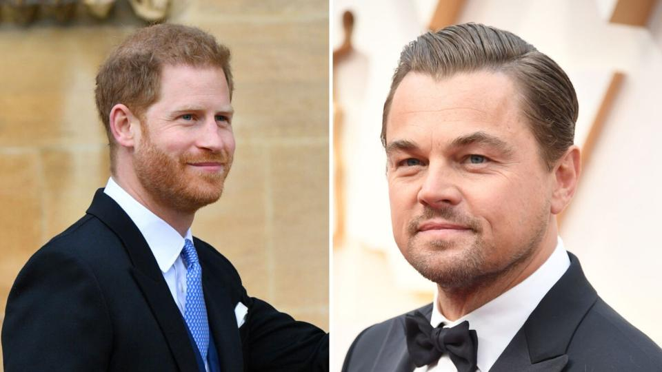 Prince Harry on the left and Leonardo Dicaprio on the right.