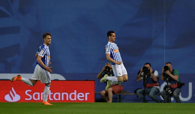 Soccer Football - La Liga Santander - Real Sociedad vs Atletico Madrid - Anoeta Stadium, San Sebastian, Spain - April 19, 2018 Real Sociedad's Juanmi celebrates scoring their second goal REUTERS/Vincent West