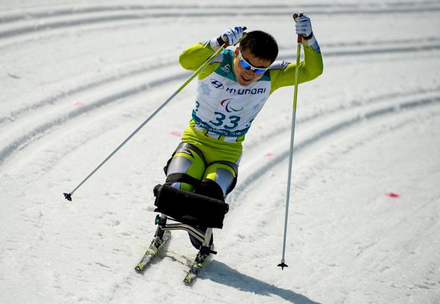 Jong Hyon Kim PRK competes in the Cross-Country Skiing Sitting Men's 1.1km Sprint at the Alpensia Biathlon Centre. The Paralympic Winter Games, PyeongChang, South Korea, Wednesday 14th March 2018. OIS/IOC/Thomas Lovelock/Handout via REUTERS