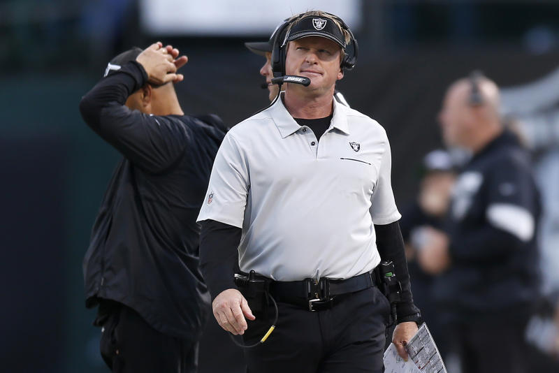 Oakland Raiders head coach Jon Gruden walks on the sideline during the second half of an NFL football game against the Tennessee Titans in Oakland, Calif., Sunday, Dec. 8, 2019. (AP Photo/D. Ross Cameron)