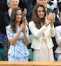 <p>At the Wimbledon 2012 championships with her big sister as her date, Pippa cut a fashion forward figure in a £350 'Phoebe' frock from Project D, decorated with bluebirds. She paired the look with Jaeger shoes. <i>[Photo: PA Images]</i> </p>