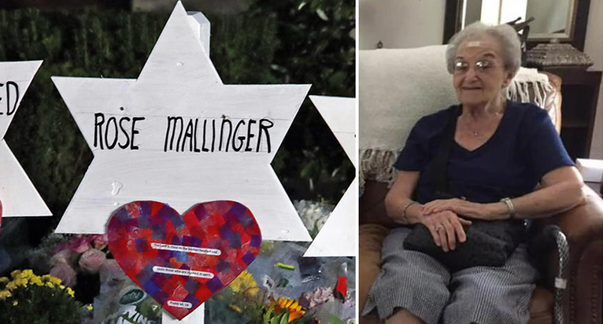 Stars of David with the names of those killed at the Tree of Life Synagogue in Pittsburgh in Saturday's shooting are seen in a memorial outside the synagogue on Sunday. At right, an undated photo of Rose Mallinger. (Photos: Gene J. Puskar/AP, Facebook)
