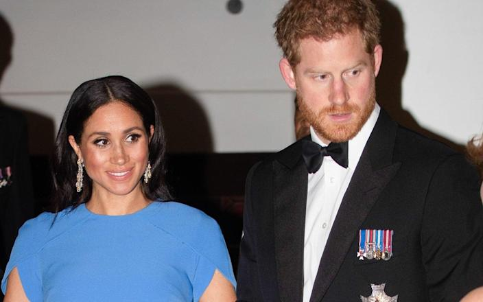 The Duchess of Sussex wearing the now controversial earrings - Wireimage