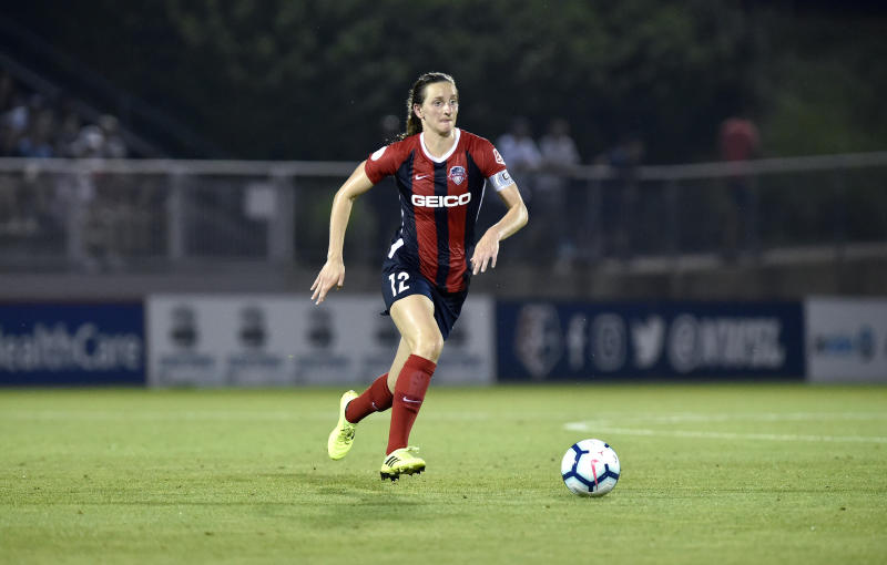 BOYDS, MD - JULY 20: Washington Spirit midfielder Andi Sullivan (12) moves the ball through midfield during the National Womens Soccer League (NWSL) game between the Houston Dash and Washington Spirit July 20, 2019 at Maureen Hendricks Field at Maryland SoccerPlex in Boyds, MD. (Photo by Randy Litzinger/Icon Sportswire via Getty Images)