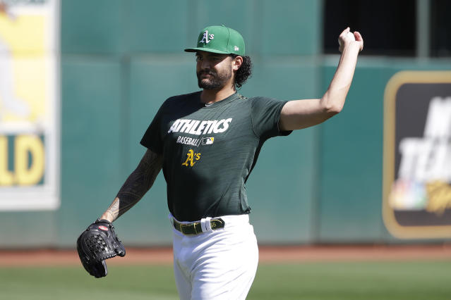Oakland Athletics pitcher Sean Manaea throws during baseball practice in Oakland, Calif., Tuesday, Oct. 1, 2019. The Athletics are scheduled to face the Tampa Bay Rays in an American League wild-card game Wednesday, Oct. 2. (AP Photo/Jeff Chiu)