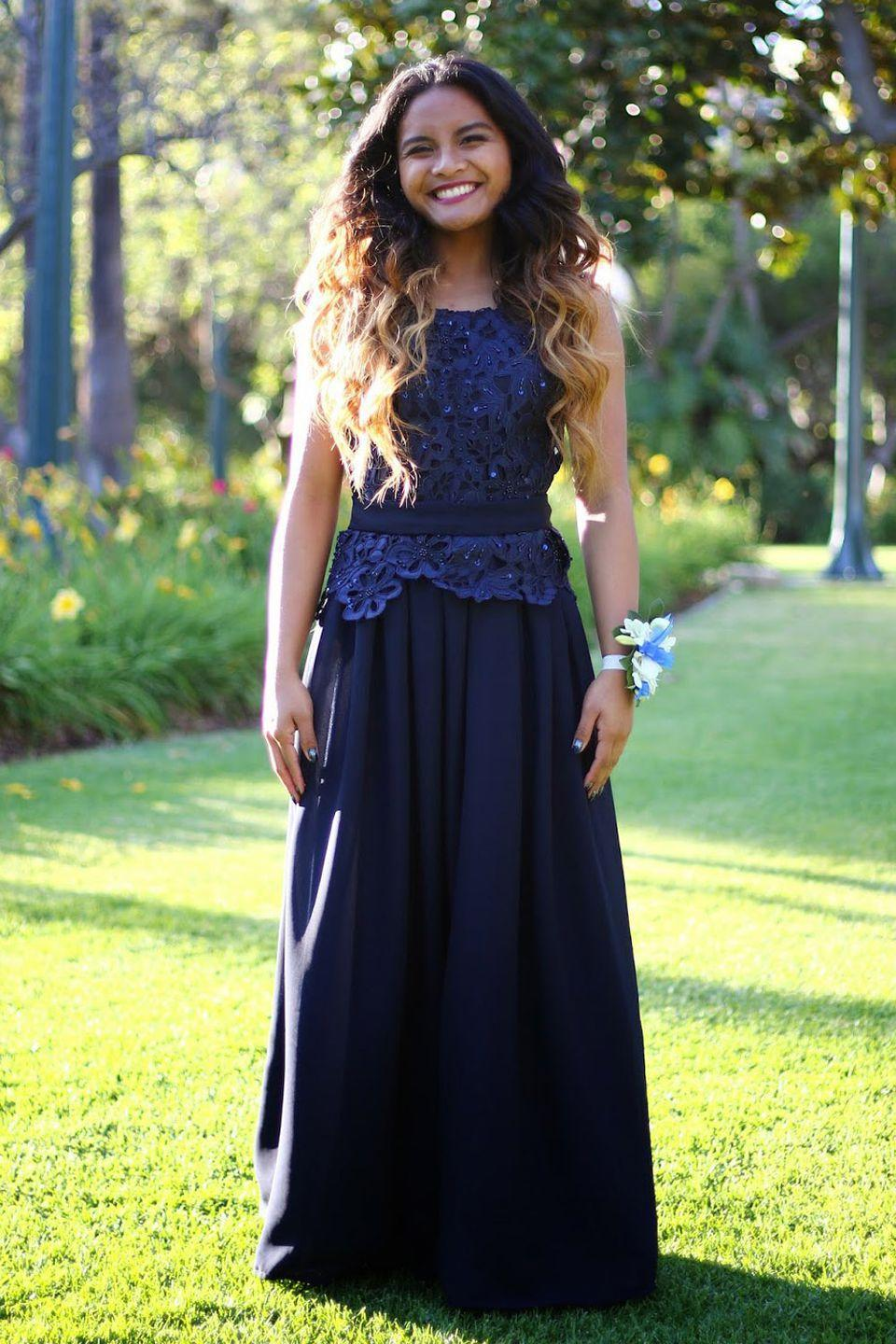 """<p><a href=""""http://atlofysabel.blogspot.com/"""" rel=""""nofollow noopener"""" target=""""_blank"""" data-ylk=""""slk:Ysabel"""" class=""""link rapid-noclick-resp"""">Ysabel</a> designed her prom dress in only a week! """"I learned how to use a sewing machine from my dad, and other than that I am purely self taught from trial and error,"""" she told Seventeen.com. """"I have been sewing since the 8th grade and fell in love with it ever since.""""</p>"""