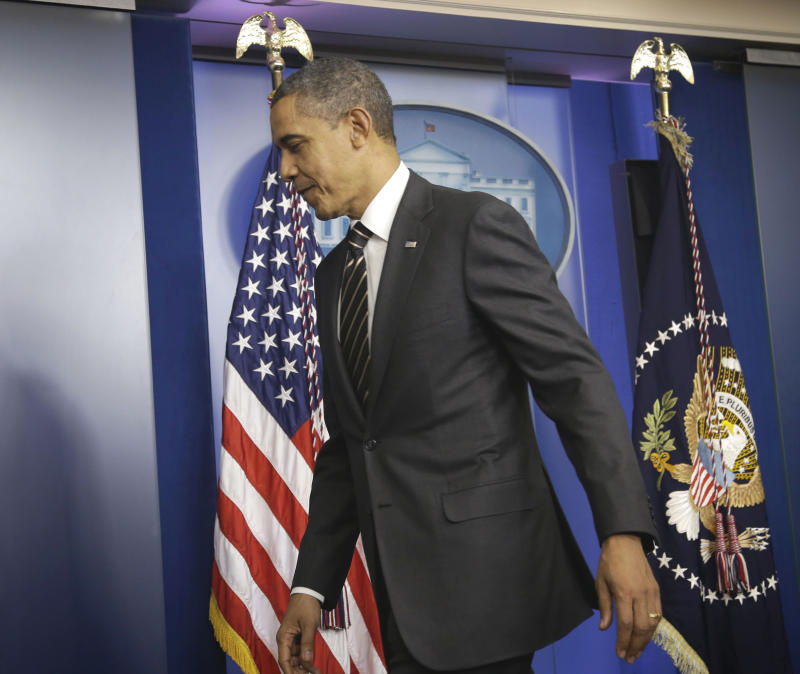 President Barack Obama leaves the James Brady Press Briefing Room of the White House in Washington, Tuesday, Feb. 5, 2013, where he asked Congress to come up with tens of billions of dollars in short-term spending cuts and tax revenue to put off the automatic across the board cuts that are scheduled to kick in March 1.  (AP Photo/Pablo Martinez Monsivais)