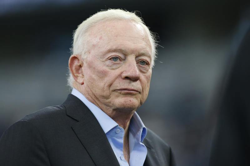 Aug 29, 2019; Arlington, TX, USA; Dallas Cowboys owner Jerry Jones on the field before the game against the Tampa Bay Buccaneers at AT&T Stadium. Mandatory Credit: Tim Heitman-USA TODAY Sports