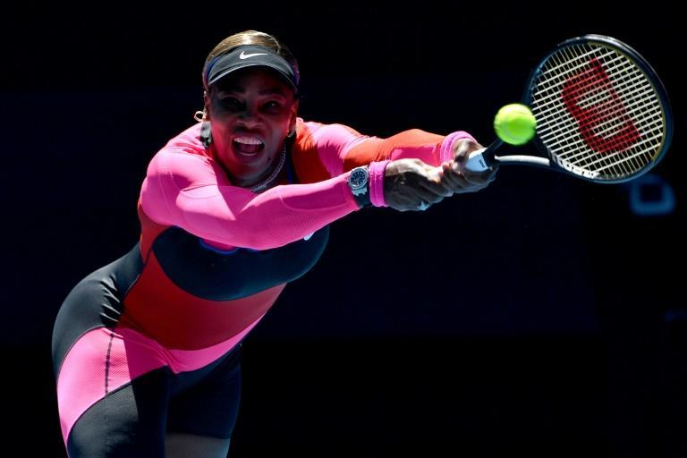 Serena Williams stertches for a return against Serbia's Nina Stojanovic