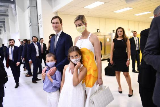 Ivanka Trump, President Donald Trump's daughter and adviser, arrives for a SpaceX launch in Florida with her husband Jared Kushner and their children (AFP via Getty Images)