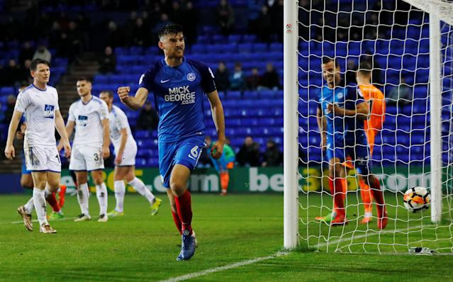 Soccer Football - FA Cup First Round Replay - Tranmere Rovers vs Peterborough United - Prenton Park, Birkenhead, Britain - November 15, 2017 Peterborough United's Jack Baldwin celebrates scoring his sides third goal Action Images/Jason Cairnduff