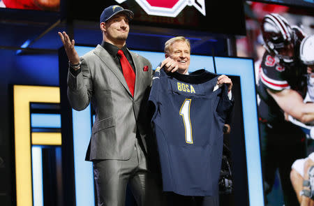 Apr 28, 2016; Chicago, IL, USA; Joey Bosa (Ohio State) with NFL commissioner Roger Goodell after being selected by the San Diego Chargers as the number three overall pick in the first round of the 2016 NFL Draft at Auditorium Theatre. Mandatory Credit: Kamil Krzaczynski-USA TODAY Sports / Reuters Picture Supplied by Action Images