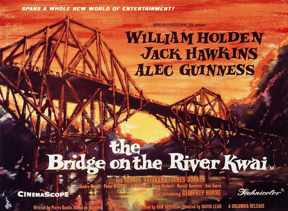 The Bridge On The River Kwai, poster, 1957. (Photo by LMPC via Getty Images)