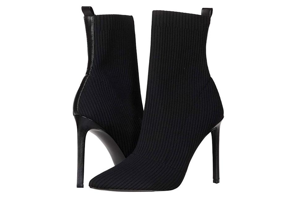 black boots, sock style boots, steve madden