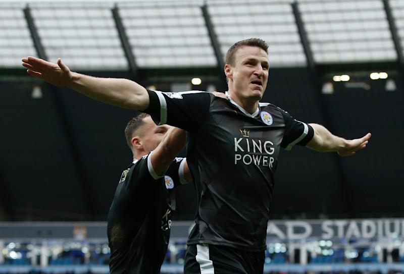 ad4a1a4db Leicester City  39 s defender Robert Huth celebrates scoring his team  39