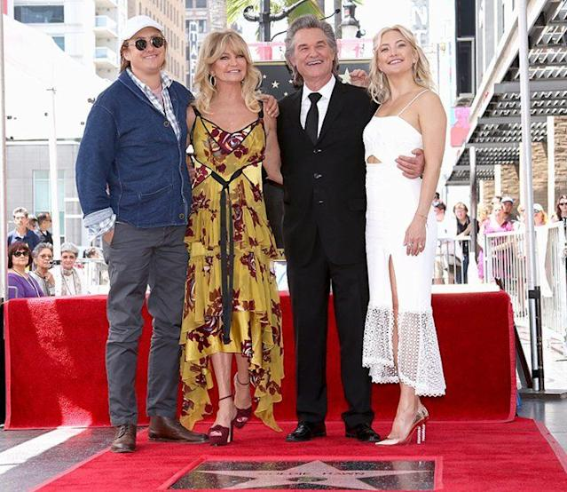 Boston Russell, Goldie Hawn, Kurt Russell, and Kate Hudson. (Photo: Jesse Grant/Getty Images for Disney)