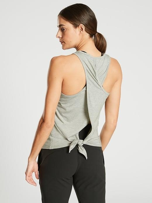 <p>You can tie the back or leave it flowing with this <span>Athleta Essence Tie Back Tank</span> ($44) and <span>Athleta Essence Spacedye Tie Back Tank</span> ($44). </p>