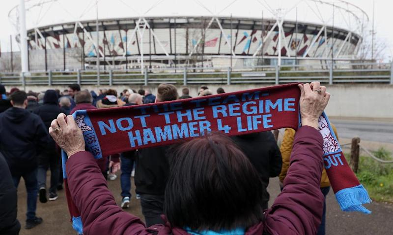 West Ham fans protest against the board in February.