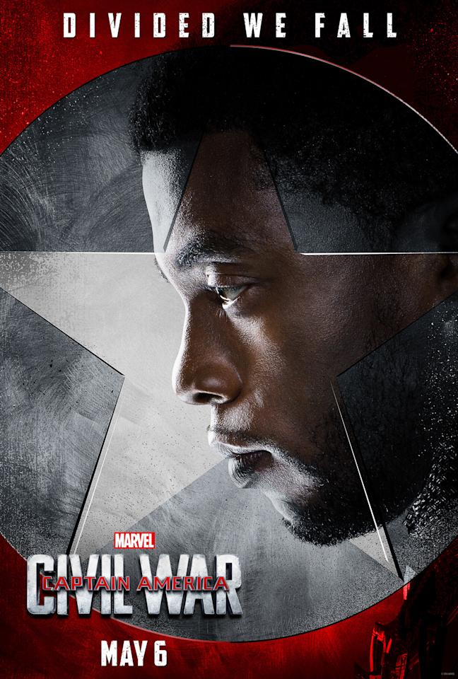 """<p>The prince of Wakanda, played by <i>42 </i>star Chadwick Boseman<i>,</i> is new to the MCU, and will get his own solo film in 2017. And in <i>Civil War</i>, he's just getting his feet wet. """"I'm just kind of thrown into the middle,"""" he said. """"You meet me as the prince of Wakanda. You meet me as a politician/monarch, not as a superhero,"""" Boseman<a href=""""https://www.yahoo.com/movies/the-godfather-of-superhero-movies-on-the-set-170634774.html"""">said</a>.<br /></p>"""
