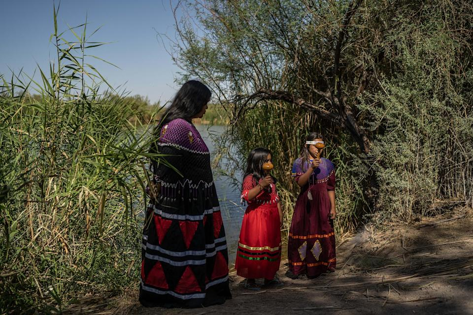 Image: Luc?a Laguna with two of her students who learn the traditions and songs of the Cucap? people, in Baja California, Mexico, April 2021. (Alejandro Cegarra)
